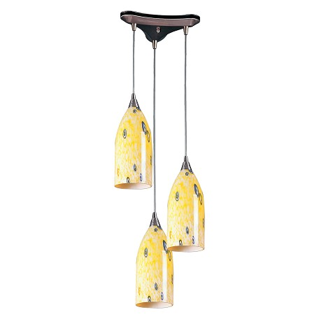 ELK Lighting Three Light Satin Nickel Yellow Blaze Glass Multi Light Pendant