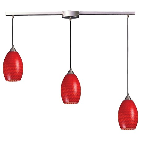 ELK Lighting Three Light Satin Nickel Scarlet Red Glass Multi Light Pendant