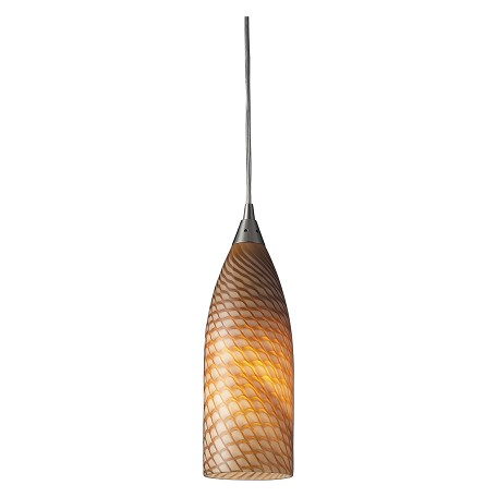 ELK Lighting One Light Satin Nickel Cocoa Glass Down Mini Pendant