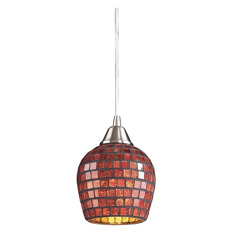 ELK Lighting One Light Satin Nickel Copper Mosaic Glass Down Pendant