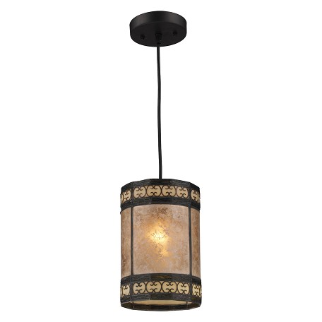 ELK Lighting One Light Tiffany Bronze Drum Shade Mini Pendant