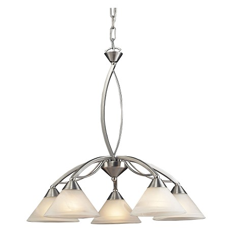 ELK Lighting Five Light Satin Nickel Marbelized White Glass Down Chandelier