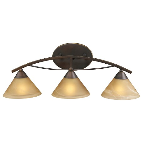 ELK Lighting Three Light Aged Bronze Tea Swirl Glass Vanity
