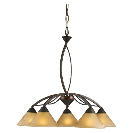 ELK Lighting Five Light Aged Bronze Tea Swirl Glass Down Chandelier