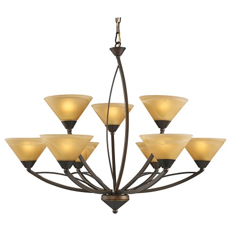 ELK Lighting Nine Light Aged Bronze Tea Swirl Glass Up Chandelier