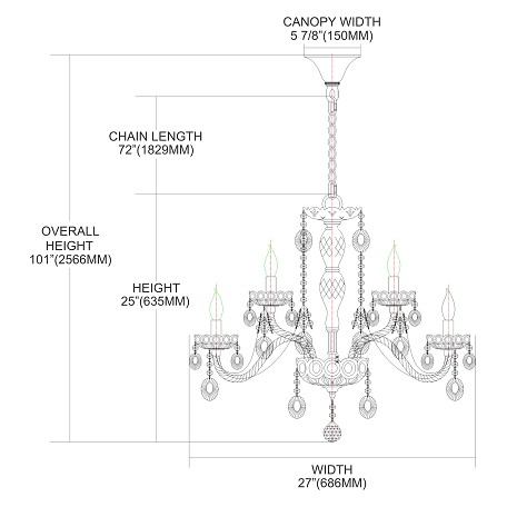 ELK Lighting Nine Light Smoke/Chrome Up Chandelier