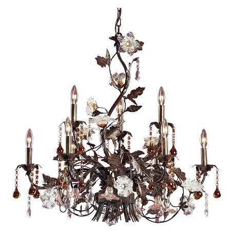 ELK Lighting Nine Light Deep Rust Up Chandelier