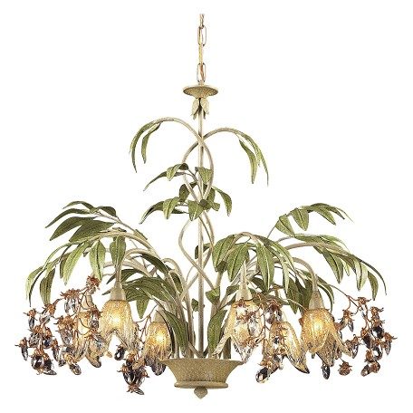 ELK Lighting Six Light Seashell Amber Glass Down Chandelier