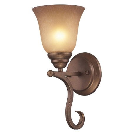 ELK Lighting One Light Mocha Antique Amber Glass Wall Light