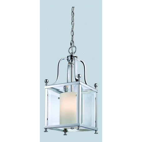 Z-Lite Three Light Chrome Clear Beveled Outside Glass And Matte Opal Glass Pendant