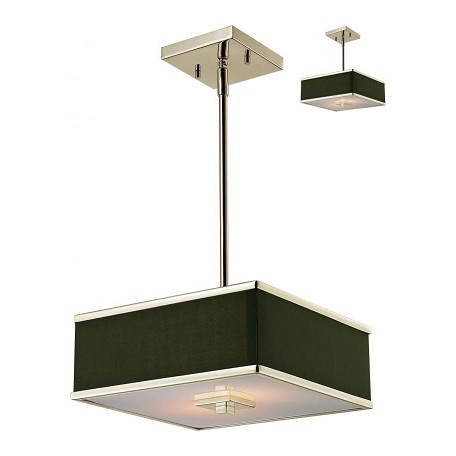 Z-Lite Brushed Nickel 2 Light Pendant With Black Fabric Square Shade