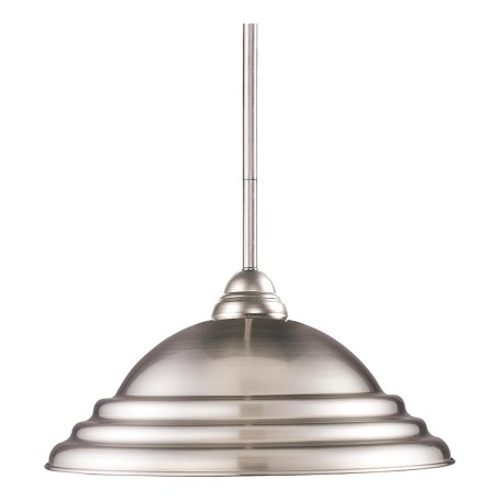 Z-Lite One Light Brushed Nickel Stepped Brushed Nickel Shade Down Pendant