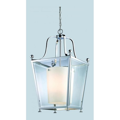 Z-Lite Four Light Chrome Clear Outside Glass And Matte Opal Inside Glass Pendant