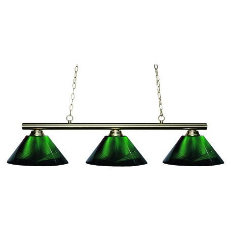 Z-Lite Three Light Brushed Nickel Acrylic Green Shade Pool Table Light