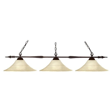 Z-Lite Three Light Bronze Golden Mottle Glass Island Light