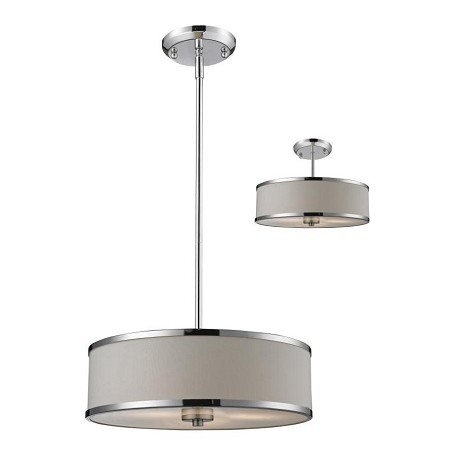 Z-Lite Three Light Chrome White Shade Drum Shade Pendant