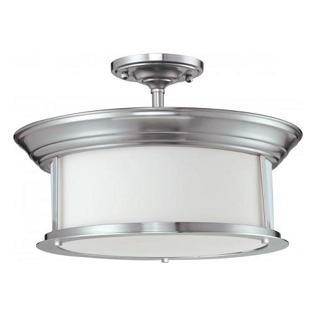 Z-Lite Three Light Brushed Nickel Matte Opal Glass Drum Shade Semi-Flush Mount