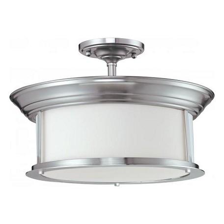 Z Lite Three Light Brushed Nickel Matte Opal Glass Drum