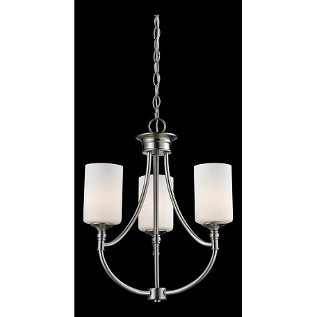 Z-Lite Three Light Satin Nickel Matte Opal Glass Up Chandelier