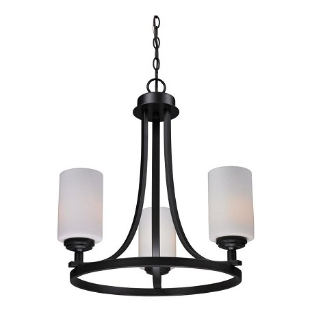 Z-Lite Three Light Oil Rubbed Bronze Matte Opal Glass Up Chandelier