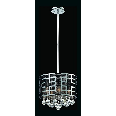 Z-Lite Five Light Chrome Drum Shade Pendant