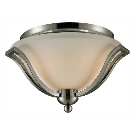 Z-Lite Two Light Brushed Nickel Matte Opal Glass Bowl Flush Mount
