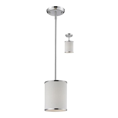 Z-Lite One Light Chrome White Shade Drum Shade Pendant