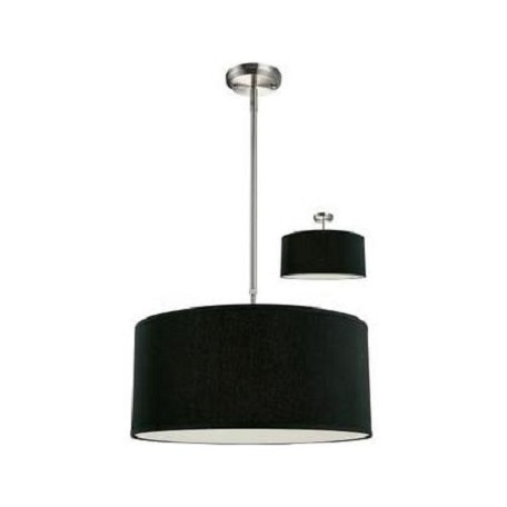 Z-Lite Three Light Brushed Nickel Black Shade Drum Shade Pendant