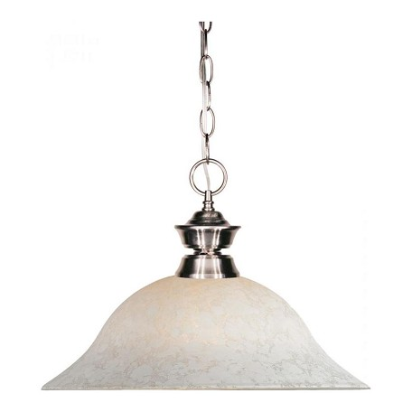Z-Lite One Light Brushed Nickel White Mottle Glass Down Pendant