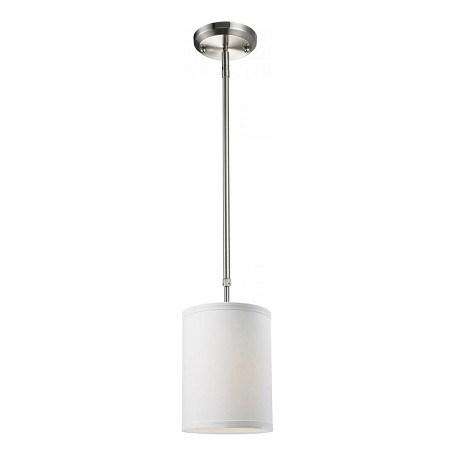 Z Lite One Light Brushed Nickel White Linen Shade Drum