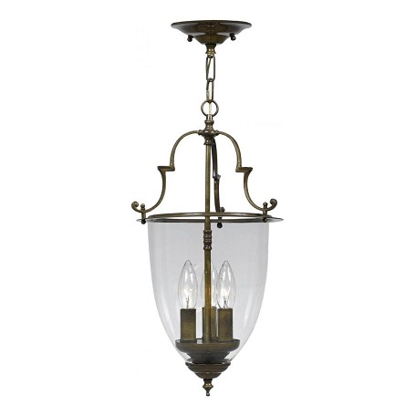Crystorama Three Light Autumn Brass Clear Glass Foyer Hall Pendant