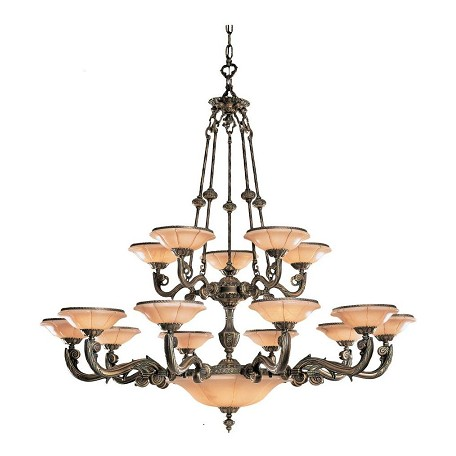 Crystorama Bronze Natural Alabaster 20 Light 56in. Wide 3 Tier Cast Brass Chandelier