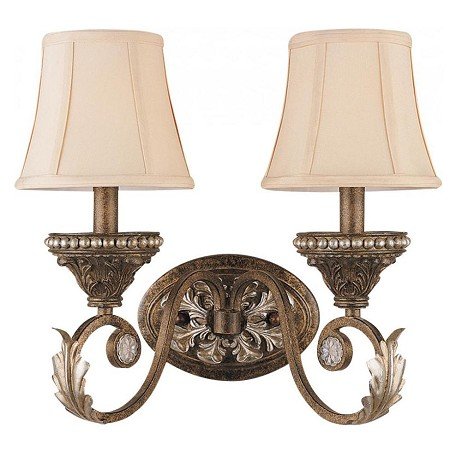Crystorama Weathered Patina Roosevelt 2 Light Double Wall Sconce