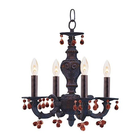 Crystorama Four Light Venetian Bronze Up Mini Chandelier