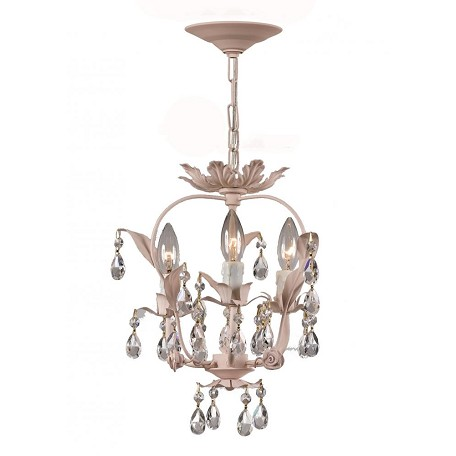 Crystorama Three Light Blush Up Mini Chandelier