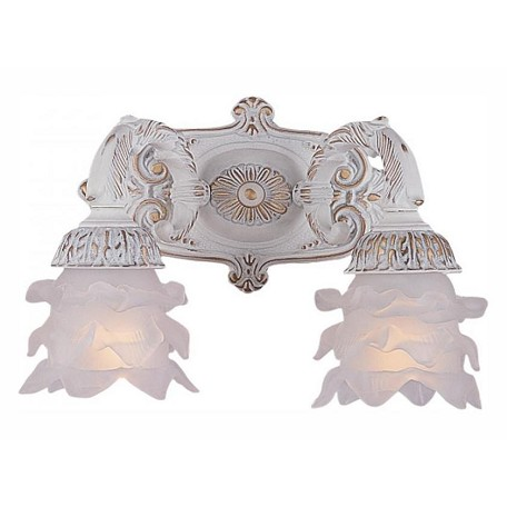 Crystorama Two Light Antique White Tulip Glass Wall Light