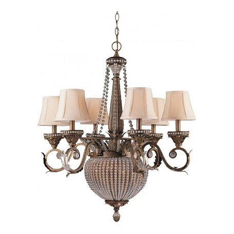 Crystorama Six Light Weathered Patina Up Chandelier