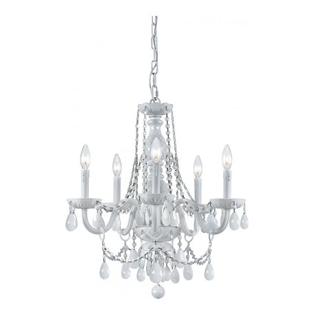 Crystorama Envogue Modern Wet White Finish Crystal Chandelier With 6 Candelabra Lights