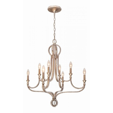 Crystorama Eight Light Distressed Twilight Up Chandelier