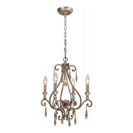 Crystorama Four Light Distressed Twilight Up Mini Chandelier