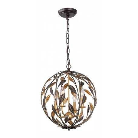 Crystorama Four Light English Bronze + Antique Gold Up Mini Chandelier