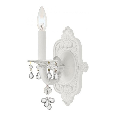 Crystorama One Light Antique White Wall Light