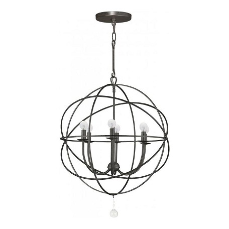 Crystorama English Bronze Solaris 6 Light 23in. Wide Wrought Iron Chandelier