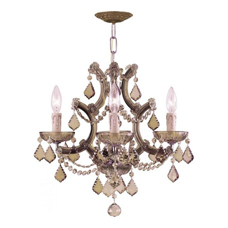 Crystorama Four Light Antique Brass Up Mini Chandelier