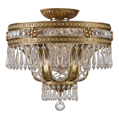 Crystorama Aged Brass Six Light Solid Brass Crystal Semi Flush Ceiling Fixture