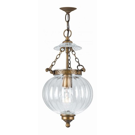 Crystorama Antique Brass Camden 1 Light Foyer Pendant with Clear Melon Glass Shade