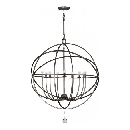 Crystorama English Bronze Solaris 9 Light 40in. Wide Wrought Iron Chandelier