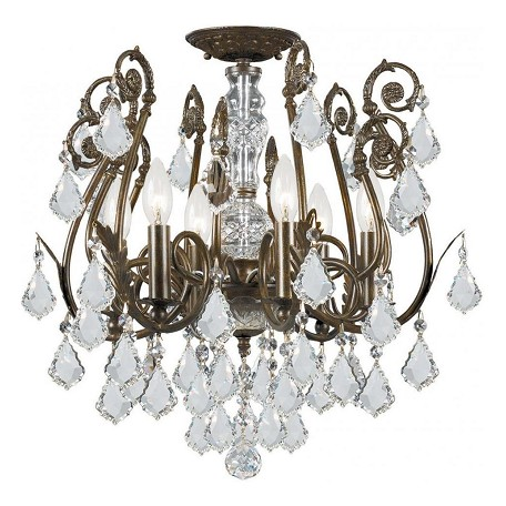 Crystorama 6 Light Hand Cut Crystal Semi-Flush