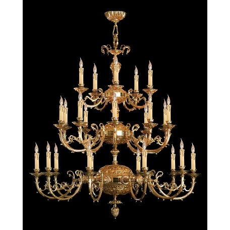 Crystorama Olde Brass Etta 25 Light 48in. Wide 3 Tier Cast Brass Candle Style Chandelier
