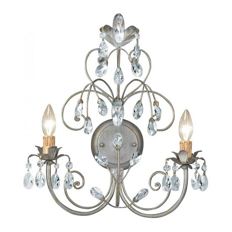 Crystorama Silver Leaf SALE - Victoria 2 Light Candle Style Double Wall Sconce